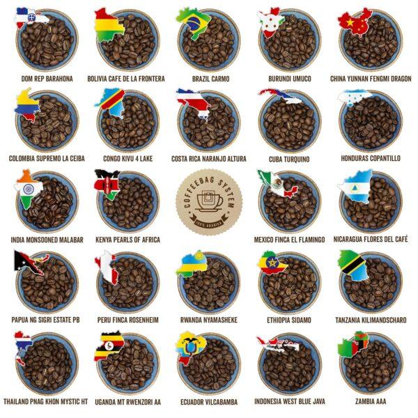 24 x Kaffeesorten im Adventskalender - Inhalt - 2021