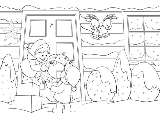 Weihnachtsvorbereitung - Ausmalbild