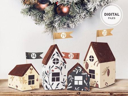 Druckbare-DIY-Adventskalender-Häuschen
