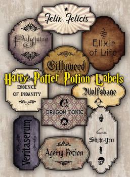 Füllen Harry Potter Download Flaschenlabel