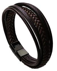 Herren-Echtleder-Armband-mit-Edelstahl-Verschluß