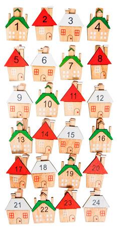 Holz-Klammern mit Haus Adventskalenderzahlen