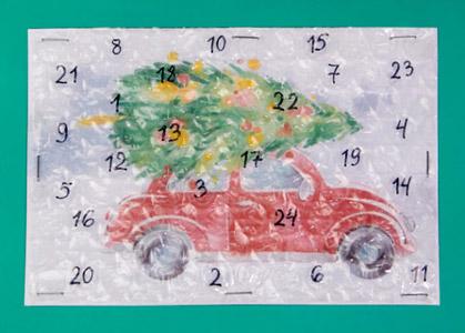 DIY Luftposterfolie Adventskalender mit Knisterfolie