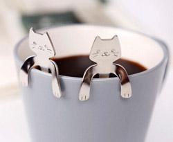 Teehalter-Albeey-Katze-Teelöffel-