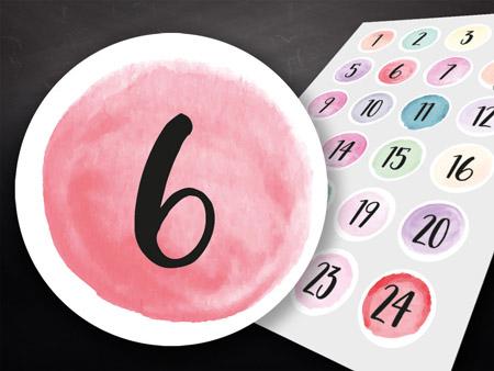 Zahlenaufkleber-Watercolor-Style