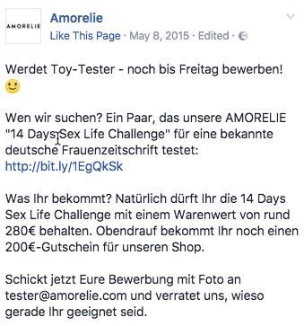 Amorelie Produkttester werden via Facebook