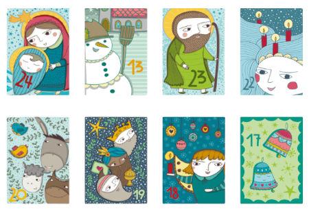 Inhalt Postkarten Adventskalender 2020