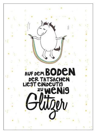 """EInhorn Postkarte """"Zu wenig Glitzer"""""""