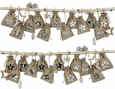 papierdrachen 24 adventskalender stoffsäckchen schwarz weiß
