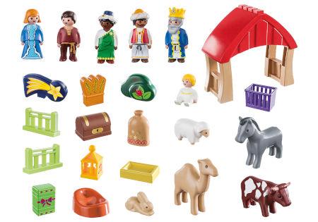 Inhalt Playmobil 1.2.3. Adventskalender Weihnachtskrippe