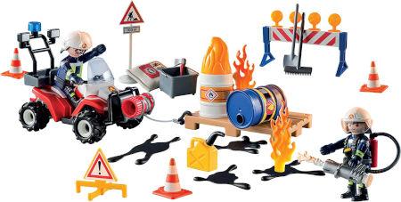 Inhalt PLAYMOBIL Adventskalender Feuerwehreinsatz auf der Baustelle