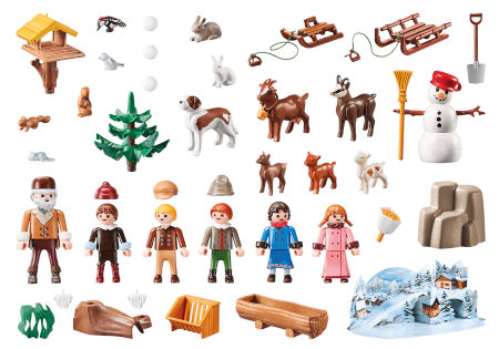 Inhalt PLAYMOBIL Adventskalender Heidis Winterwelt