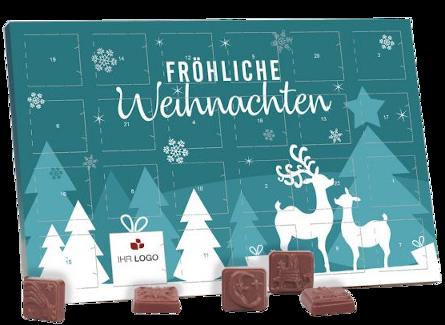 Weichnachtsplaner Werbe Adventskalander mit Schokolade
